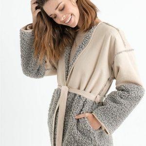 Lucky Brand Coat Jacket Sherpa Beige Gray Sz XL